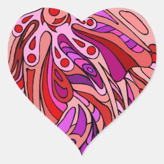 Rojos ocho pegatina en forma de corazón