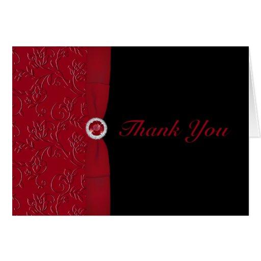 Rojos y negros de rubíes le agradecen cardar tarjeta de felicitación