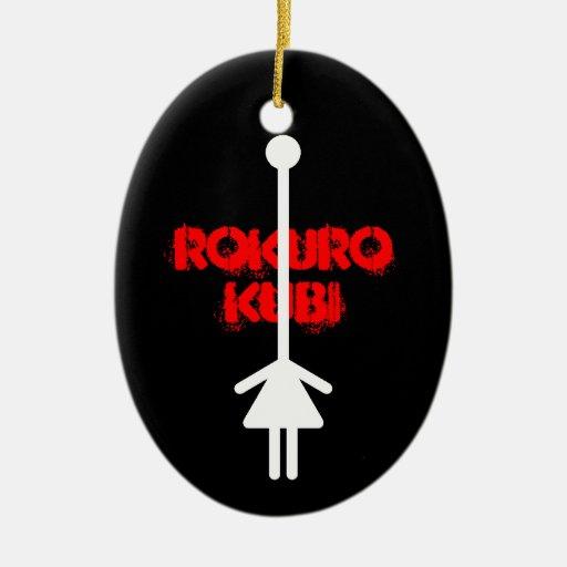 rokurokubi(white) adorno navideño ovalado de cerámica