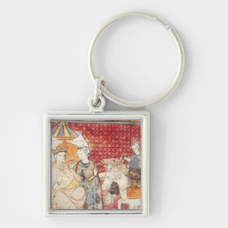 Roland Bidding Farewell to Charlemagne Silver-Colored Square Keychain