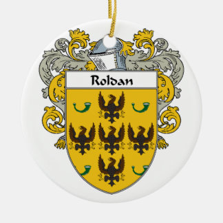 Roldan Coat of Arms (Mantled).png Double-Sided Ceramic Round Christmas Ornament