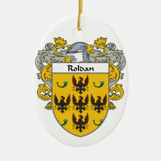Roldan Coat of Arms (Mantled).png Double-Sided Oval Ceramic Christmas Ornament
