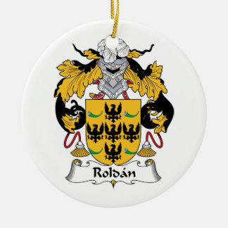 Roldan Family Crest Double-Sided Ceramic Round Christmas Ornament