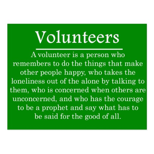 Role of Volunteers Post Card