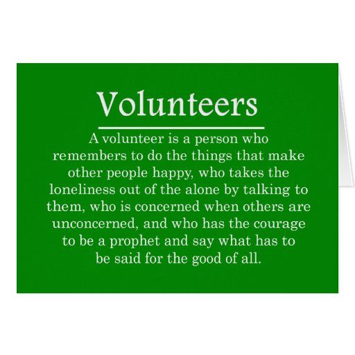 Role of Volunteers Stationery Note Card