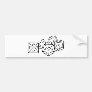 Role playing dice car bumper sticker