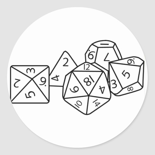 Role playing dice classic round sticker
