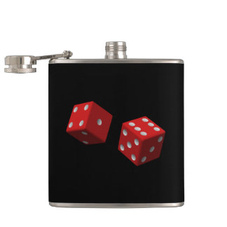 Roll 'Em Red Dice Six One Seven Las Vegas Craps Flask