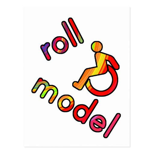 Roll Model - Disability Tees - in bright colours Postcard
