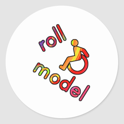 Roll Model - Disability Tees - in bright colours Round Sticker