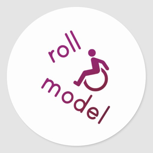 Roll Model - Disability Tees - in purple Round Sticker