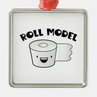 Roll Model Square Metal Christmas Ornament