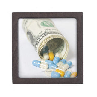 Roll of Dollar notes and capsules Keepsake Box