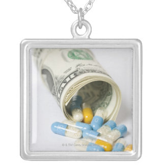Roll of Dollar notes and capsules Square Pendant Necklace