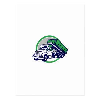 Roll-Off Bin Truck Driver Thumbs Up Circle Cartoon Postcard