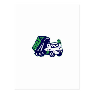 Roll-Off Bin Truck Waving Cartoon Postcard