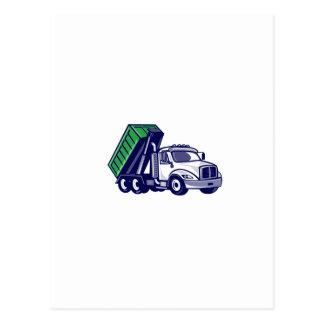 Roll-Off Truck Bin Truck Cartoon Postcard