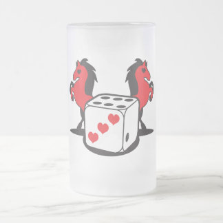 roll the dice! lucky horses frosted glass beer mug