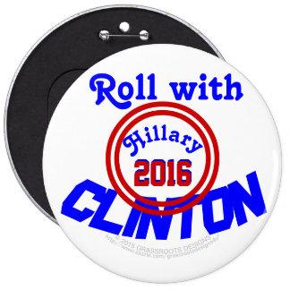 Roll with CLINTON Hillary 2016, GrassrootsDesign4u 6 Inch Round Button