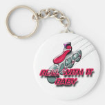 Roll With It, Baby Basic Round Button Keychain