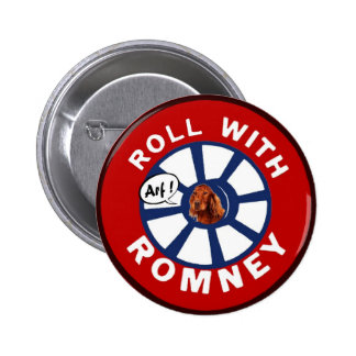 Roll with Mitt Romney Pinback Button