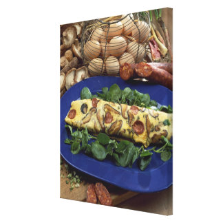 Rolled omelette with shiitake and chorizo - canvas print