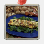 Rolled omelette with shiitake and chorizo - square metal christmas ornament