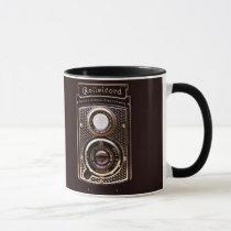 camera, rolleicord, art deco, vintage, photography, antique, funny, retro, classy, vintage camera, photographer, classic, art, deco, mug, Caneca com design gráfico personalizado