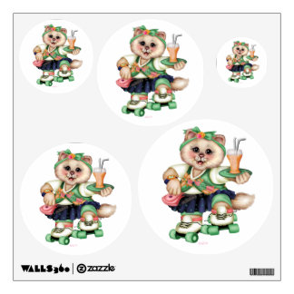 ROLLER CAT CUTE Wall Decal Circle 12 X 12 Multiple