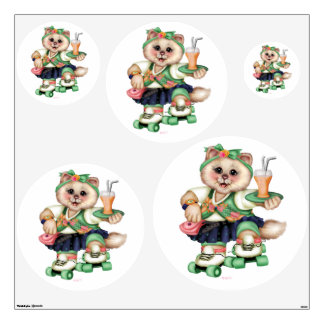 ROLLER CAT CUTE Wall Decal Circle 48 X 48 Multiple