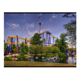 roller coaster amusement park postcard