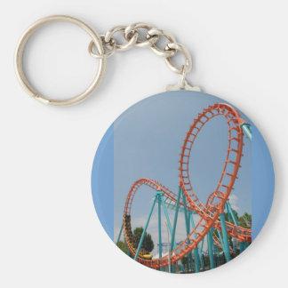 roller coaster basic round button keychain