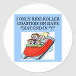roller coaster fanatic round stickers