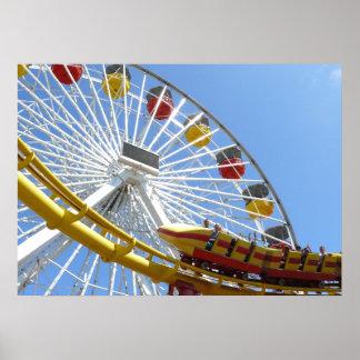 Roller Coaster Ferris Wheel Poster