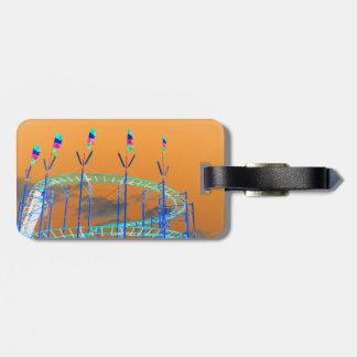 roller coaster invert orange sky bag tag