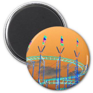 roller coaster invert orange sky fridge magnet