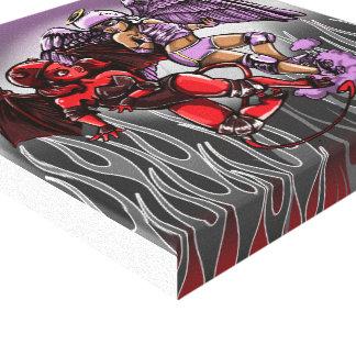 Roller Derby Angel v Devil Digital painting Canvas Print