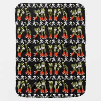Roller Derby baby blanket, red black yellow