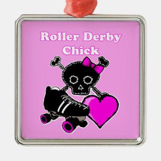 Roller Derby Chick (Pink) Metal Ornament