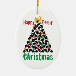 Roller Derby Christmas, Roller Skating Ceramic Ornament