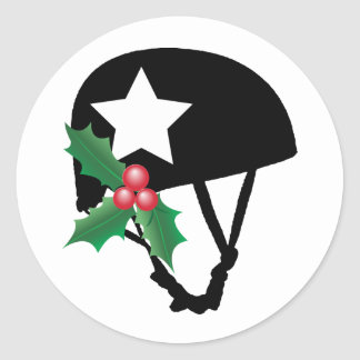 Roller Derby Christmas, Roller Skating Classic Round Sticker