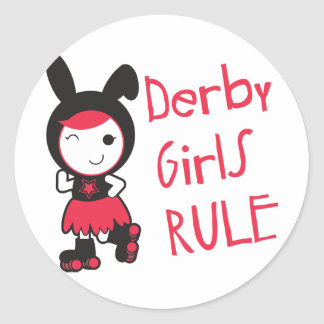 Roller Derby - Derby Girls Rule Classic Round Sticker