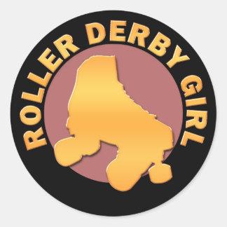 Roller Derby Girl Classic Round Sticker