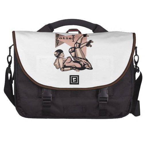 roller derby girl pin up laptop messenger bag