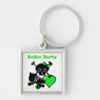 Roller Derby Heart (Green) Keychain