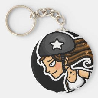 Roller Derby Jammer black and white Basic Round Button Keychain