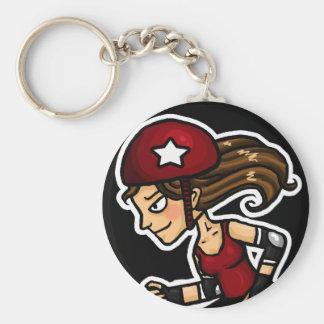 Roller Derby Jammer red Basic Round Button Keychain