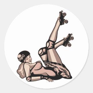 roller derby pin up diva classic round sticker