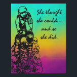 "Roller Derby Poster Gift - 12x14 Faux Canvas<br><div class=""desc"">Custom illustration by Casey Maloney on faux canvas pictures a rollergirl sitting on top of a pile of skulls and the text &quot;She thought she could...  and so she did.&quot;</div>"