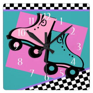 Roller Derby Retro Square Wall Clock
